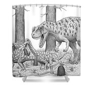 A Ceratosaurus Chasing Young Shower Curtain