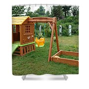A Childs Playing Equipment In A Green Location Shower Curtain