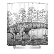 A Chirotherium Roams A Prehistoric Era Shower Curtain