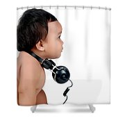 A Chubby Little Girl With Headphones Shower Curtain