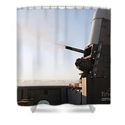 A Close-in Weapons System Fires A Burst Shower Curtain