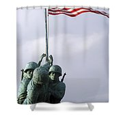 A Close Up Of The Iwo Jima Bronze Shower Curtain by Michael Wood