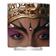 A Close View Of A Face Of A Balinese Shower Curtain