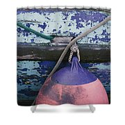 A Colorful Buoy Hangs From Ropes Shower Curtain