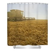 A Combine Harvester Works A Field Shower Curtain