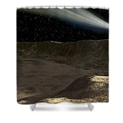 A Comet Passes Over The Surface Shower Curtain