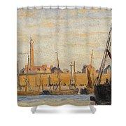 A Continental Harbor Shower Curtain by William Lionel Wyllie