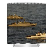 A Convoy Of Naval Ships Move Shower Curtain