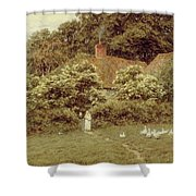 A Cottage At Farringford Isle Of Wight Shower Curtain by Helen Allingham
