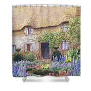 A Cottage Garden In Full Bloom Shower Curtain