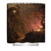 A Cottage On Fire At Night Shower Curtain