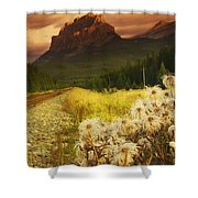 A Country Road With A Mountain In The Shower Curtain
