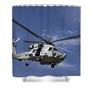 A Crew Chief Looks Out The Side Door Shower Curtain by Michael Wood