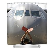 A Crew Chief Marshals In A C-141b Shower Curtain