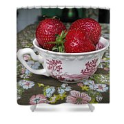 A Cup Of Strawberries Shower Curtain
