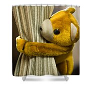 A Curtain With A Cute Stuffed Toy Shower Curtain