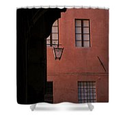 A Dark Alley Way Leads To A Lit Brick Shower Curtain