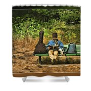 A Day On A Bench Shower Curtain