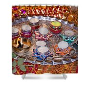 A Decorated Hindu Prayer Thaali With Wax Candles Oil Lamps Shower Curtain