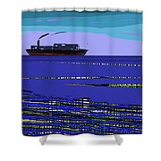A Distant Ship Shower Curtain
