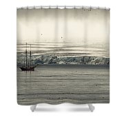 A Double-masted Sailboat Floats Near An Shower Curtain