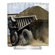 A Dump Truck Carrying Gravel Kicks Shower Curtain