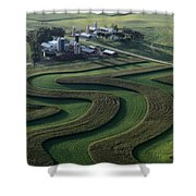 A Farm With Curved And Twisting Fields Shower Curtain
