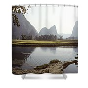 A Farm Worker Carries Water On Shoulder Shower Curtain