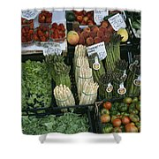 A Farmers Market Selling Vegetables Shower Curtain