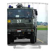 A Fire Engine Based At The Air Force Shower Curtain