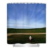 A Fire Hydrant In A Green Field Shower Curtain