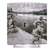 A Fisherman Tries His Luck Shower Curtain
