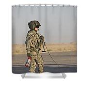 A Flight Crew Member Stands Shower Curtain