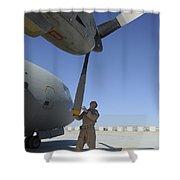A Flight Engineer Performs A Pre-flight Shower Curtain