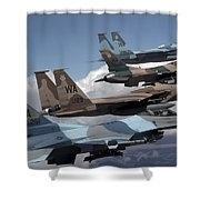 A Flight Of Aggressor F-15 And F-16 Shower Curtain