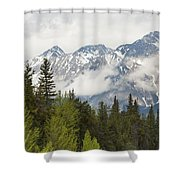 A Forest And The Rocky Mountains Shower Curtain