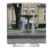 A Fountain In Silute Lithuania Shower Curtain