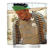 A Free Libyan Army Soldier With An Shower Curtain