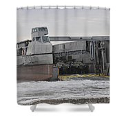 A French Landing Craft Comes Ashore Shower Curtain