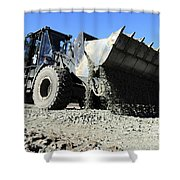 A Front End Loader Raising A Road Bed Shower Curtain