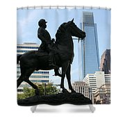 A General And His Horse In Philly Shower Curtain