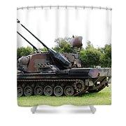 A Gepard Anti-aircraft Tank Shower Curtain by Luc De Jaeger
