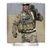 A German Soldier Carries A Barrett Shower Curtain