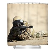 A German Soldier Sights In A Barrett Shower Curtain