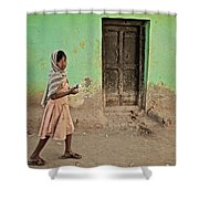 A Girl By A Door Shower Curtain