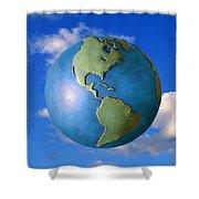 A Globe In The Sky Shower Curtain