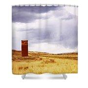 A Grain Elevator In A Field Shower Curtain