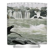 A Great Blue Heron Stretches Its Neck Shower Curtain