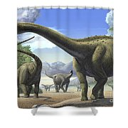 A Group Of Tapuiasaurus Macedoi Shower Curtain