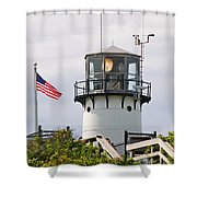 A Hawk Sits Next To Weather Instruments On Top Of Chatham Lighth Shower Curtain